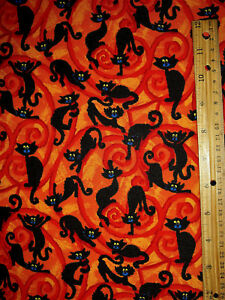 By 1//2 Yard Studio E Fabric Cheeky Pumpkins Patch Halloween Black Cat Web Owl