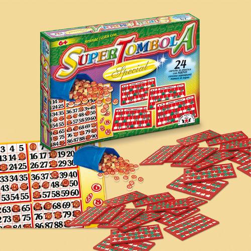 SUPER TOMBOLA SPECIAL 24 CARTELLE NUMERI IN LEGNO EDIZIONE MARCA STELLA