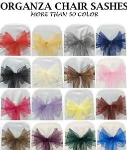 125 Pack 6 X 108 Organza Chair Sash Bow Bows Band Tie Wedding Party Decoration Ebay