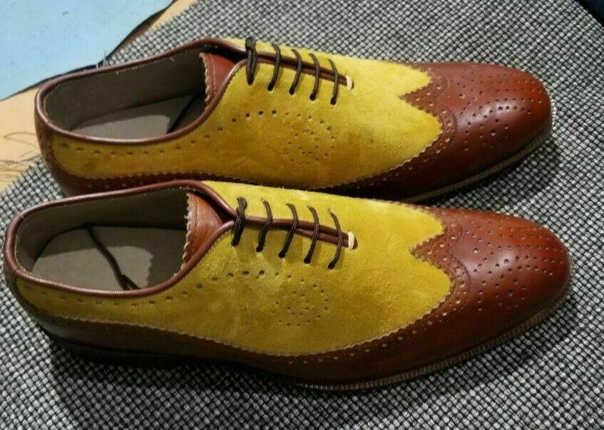 Homme Fait à la main Chaussures biCouleures en cuir véritable lacets Oxford Richelieu à bout d'aile démarrage
