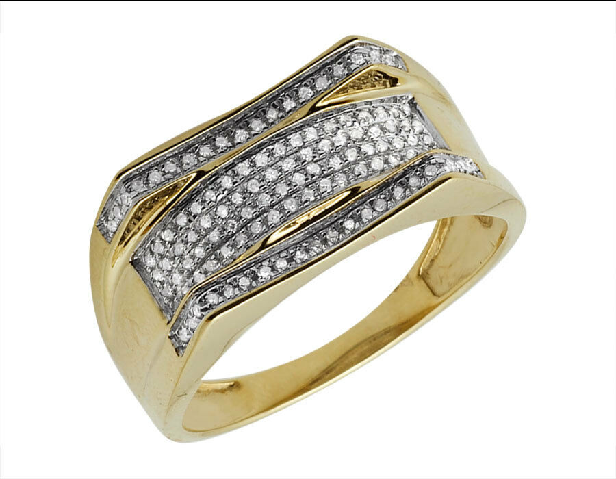 Men's 10K Yellow gold Curved Pave Real Diamond Designer Engagement Ring 0.25ct