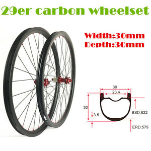 29 Inch 30mm Wide 30mm Depth Carbon Mountain Bike Wheels With