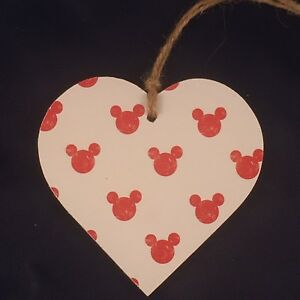 Disney Mickey Mouse Handmade wooden hanging Heart Plaque Decoupaged Baby Gift