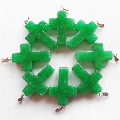 Q47932 Beautiful Carved Green Jade Cross pendant bead 8pcs