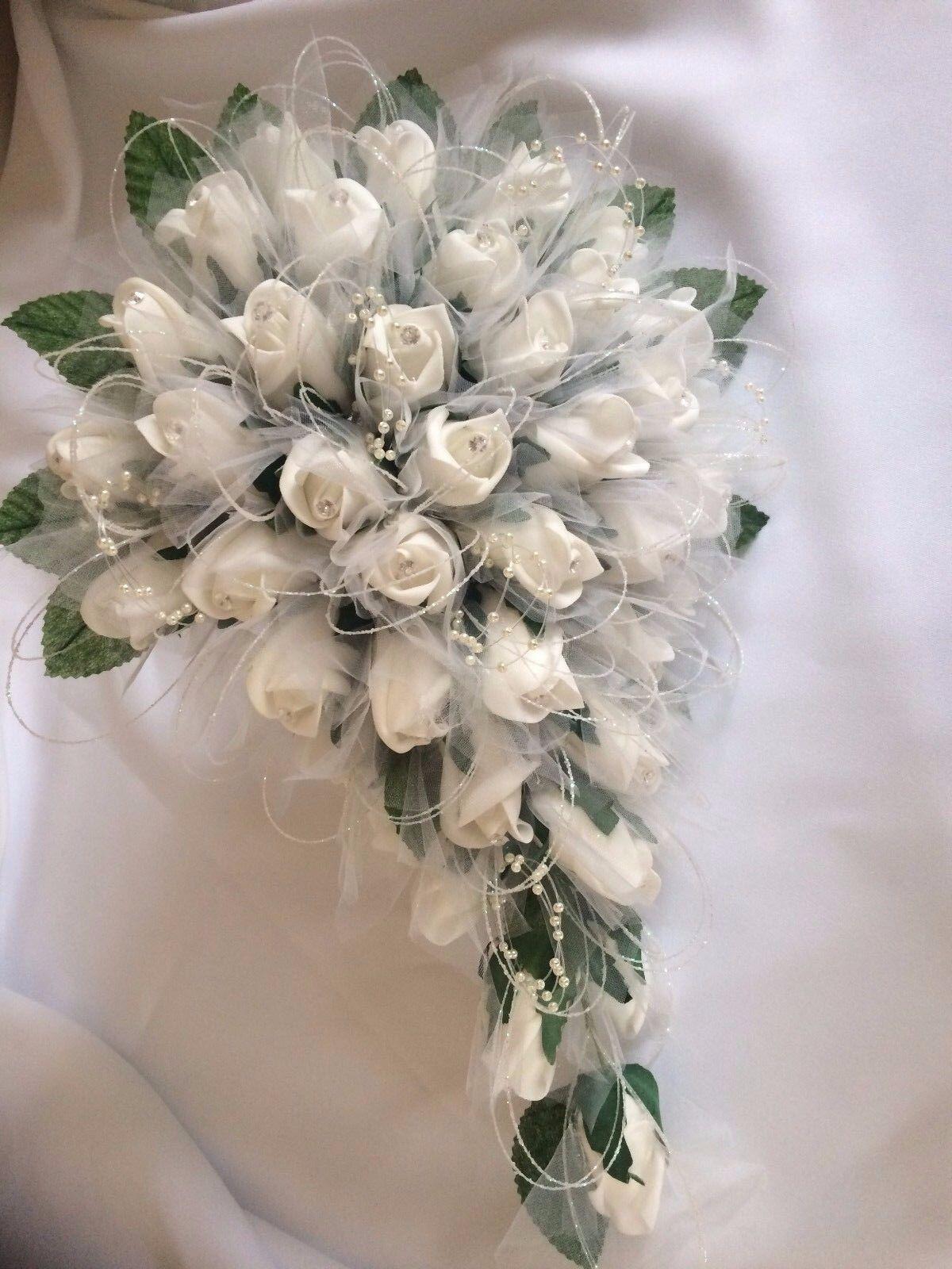 Mariage Blanc Sparkle bouquet fleur Paquet  17 pieces  tulle, STRASS & PERLE