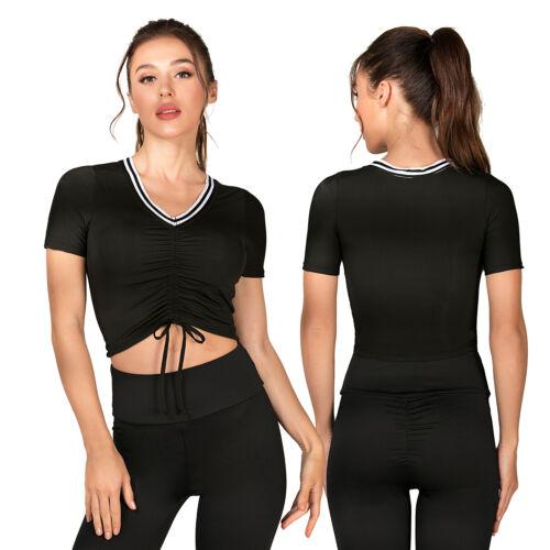 Women Running Shirt Short Sleeve Sports Vest Yoga Bra Gym Slim Fit Sports Bra