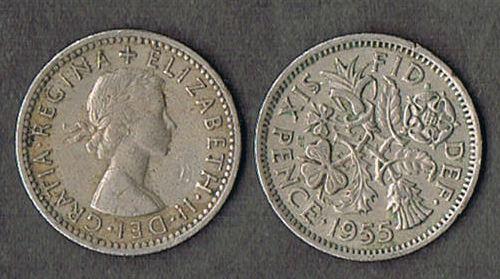 2 BRITISH WEDDING SIXPENCE Elizabeth II 1955 UK ENGLAND COINS