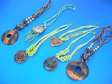 Bali handcrafted 15 pcs wood, coconut, beads necklaces *Ship From US/Canada*