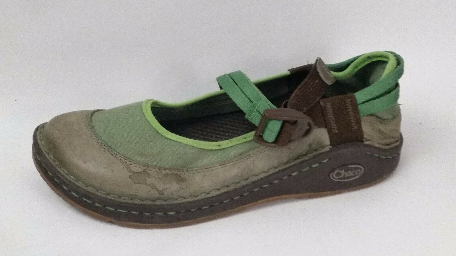 Chaco Womens 7.5 Med Green Brown Leather Mary Janes Sandals shoes Vibram Soles