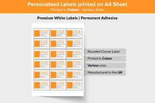 Personalised Self Adhesive Sticky Labels A4 Sheets 64mm X 339mm 24 Per Sheet