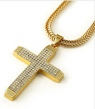 3D Iced Out Crystal Micro Gem Long Chain Necklace Jesus Cross Crucifix Pendant
