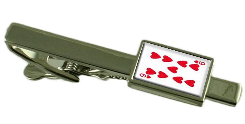 Cuore Carta da Gioco Number 9 9 9 Fermacravatta Select Regalo Astuccio 94204d