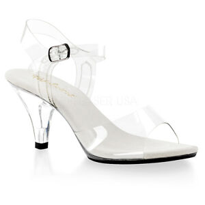 PLEASER Shoes Women's Sexy Basic Clear Low Heel Sandals 3