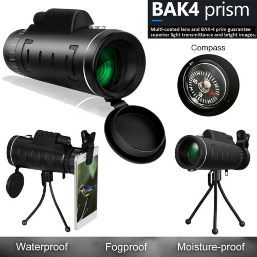 40x60 Monokular Fernglas 9500M Fernrohr BAK4-Prisma Kompass mit Stativ Clip Q4O7