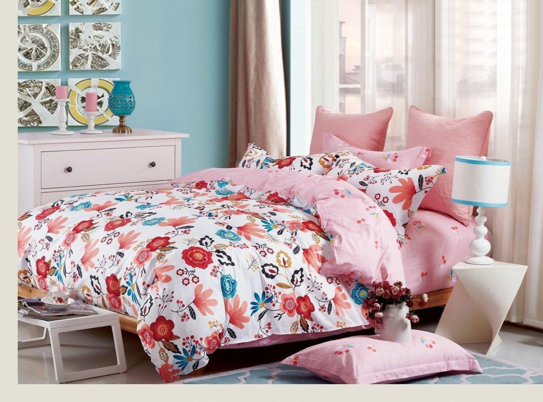 Luxury 100% Cotton Floral King Size Bedding Set Duvet Quilt Cover & Pillowcases