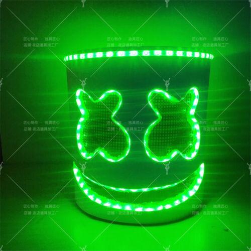 Cosplay Electronic Music Party DJ MarshMello Helmet Full Head EDM LED Light Mask