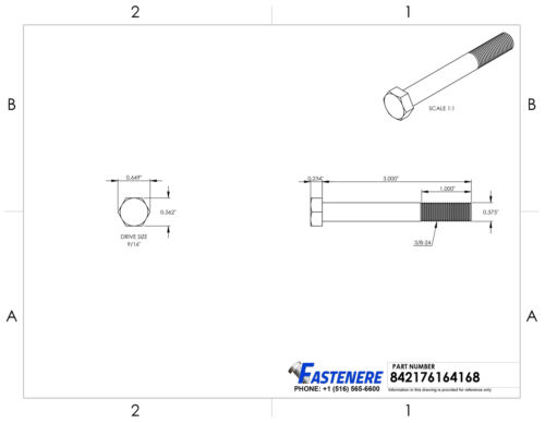 3//8-24 Hex Bolts Stainless Steel Cap Screws Partially Threaded All Sizes Listed