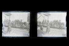 Croisière Norvège ? Photo amateur Plaque stéréo NÉGATIF 45x107mm ca 1920