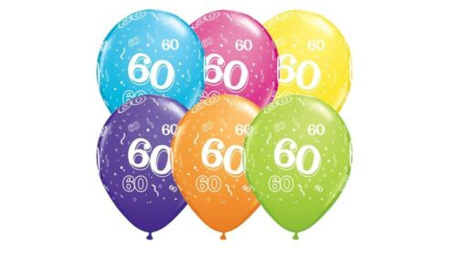 BIRTHDAY PARTY BALLOONS MULTI LATEX AGE 60 60TH qty6 17907 HELIUM