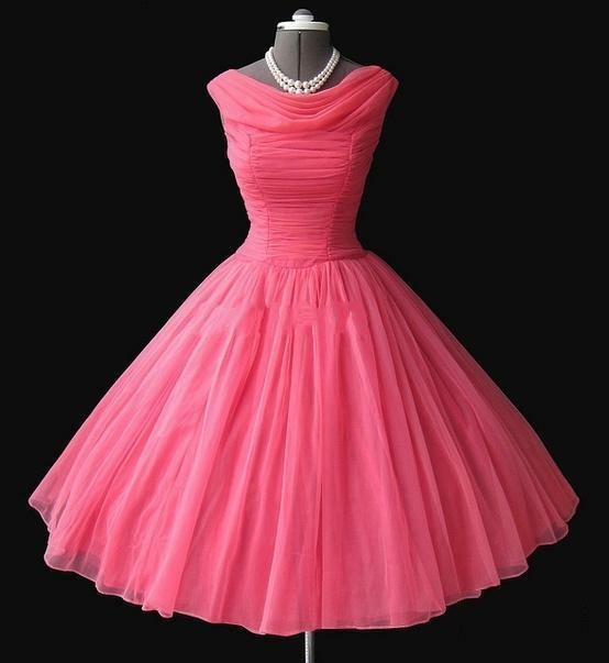 1950\'s Vintage Tea-length Prom Dresses Ball Gown Short Evening ...