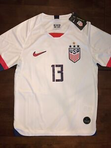 superior quality 0316d 7b6cb Details about USWNT Alex Morgan #13 US Soccer Mens Nike Large Jersey 4  STARS Front & Back NWT