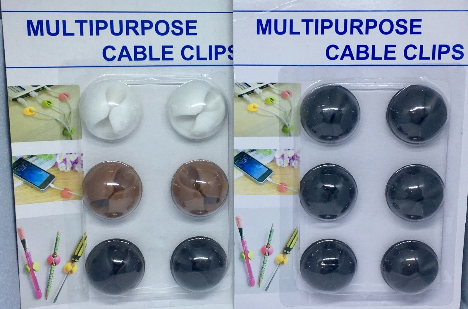 6 X Multipurpose Smart Wire Cord Cable Clips Drop Organizer Ties Holder Cable NE