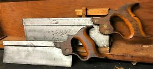 Pair-of-J-D-Darlington-Split-Nut-Back-Saw-10-034-and-12-034-Matched-Over-150-Years