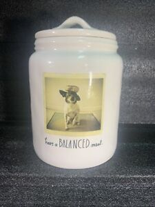 Rae-Dunn-Artisan-Collection-Dog-Treat-Jar-Lidded-Canister-Have-a-Balanced-Meal