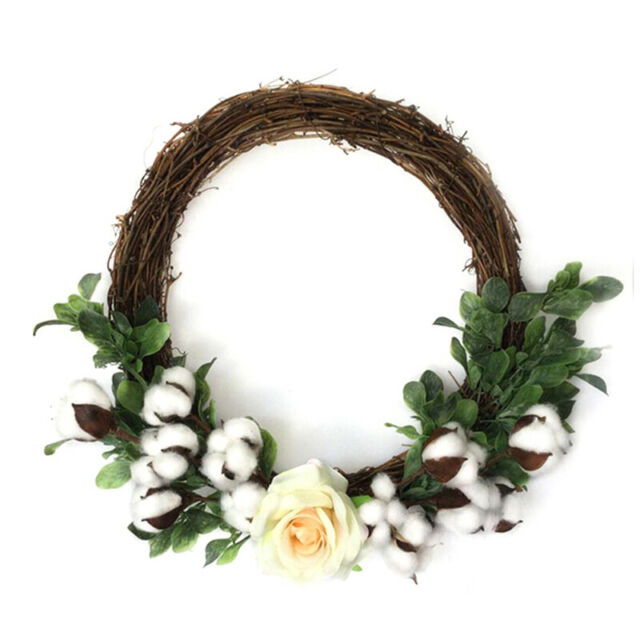 6Pcs Natural Cotton Head Artificial Dried flowers Xmas Diy Garland Wreath DecJB