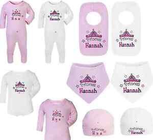 PERSONALISED BABY GIRL SLEEPSUIT/BIB/HAT GIFT SET- PRINCESS DESIGN - EMBROIDERED