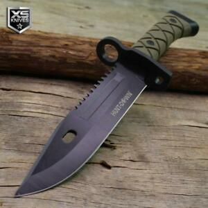 """Combat SURVIVAL Military Tactical BOWIE Hunting Fixed Blade Knife + Sheath 13.5"""""""