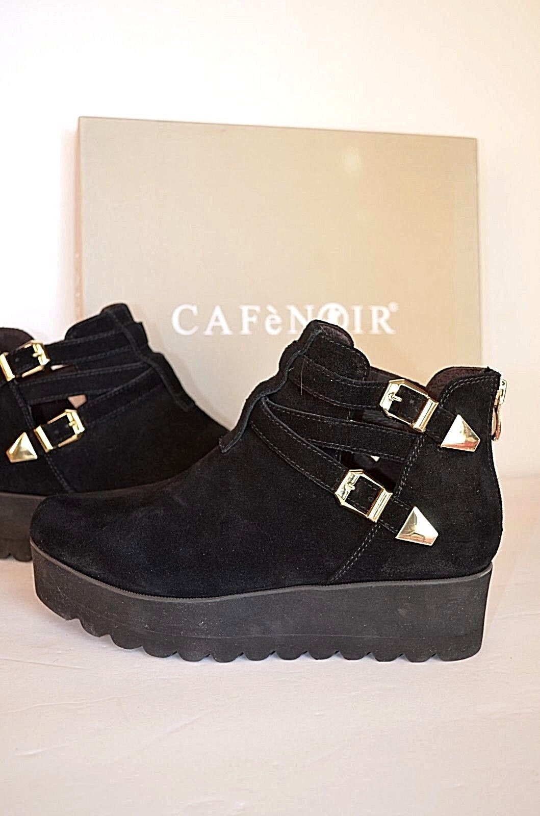 Womens Ankle Boots Leather Wedge Cafeblack  Chelsea Platform Rubber Sole S 6