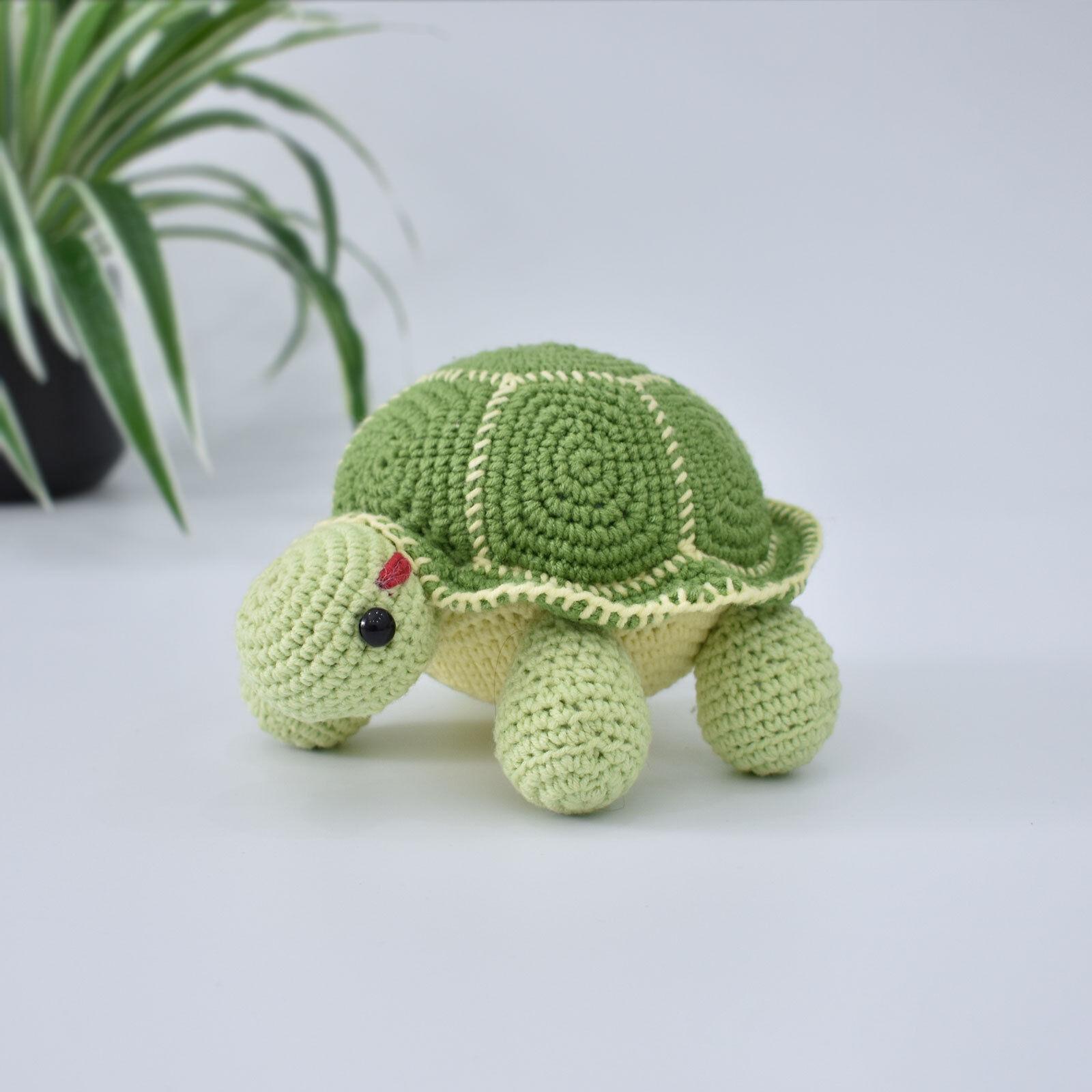Crochet Blue Striped Turtle