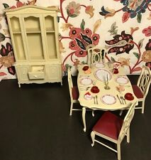 1978 Marx Toys Sindy Dining Table Chairs Breakfast Hutch Dishes Silverware