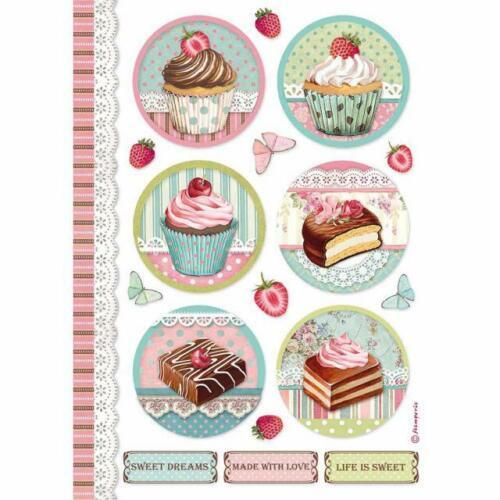 Reispapier-Motiv Strohseide-A4-STAMPERIA-Round Mini Cake-Cupcake-DFSA4503