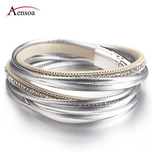 Fashion-Women-Multilayer-Leather-Magnet-Wrap-Cuff-Charm-Bracelet-Jewelry-Gift