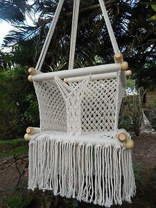 hammock macrame product swing chair cream