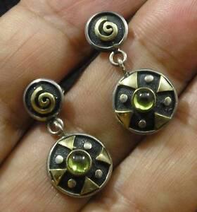 PERIDOT-925-STERLING-SILVER-22K-GOLD-Accent-Swirl-Post-Dangle-EARRINGS-Green