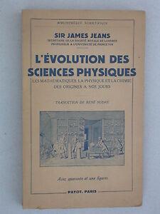 L'évolution des sciences physiques S. James Jeans - Payot 1950 - Mathématiques