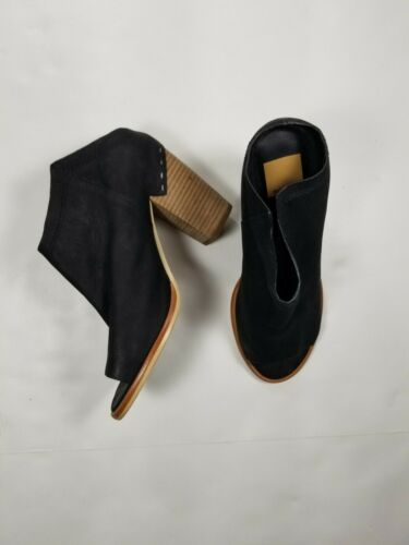 DOLCE VITA Black NOA Nubuck Leather Block Heel Mul