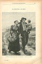 Agriculteurs La Rentrée,le soir Léon Gaud Peintre GRAVURE ANTIQUE OLD PRINT 1903
