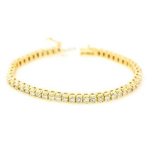 Details About 14k Yellow Gold 5 20 Ct Diamond Tennis Bracelet Bezel Setting 21 3 Grams 7