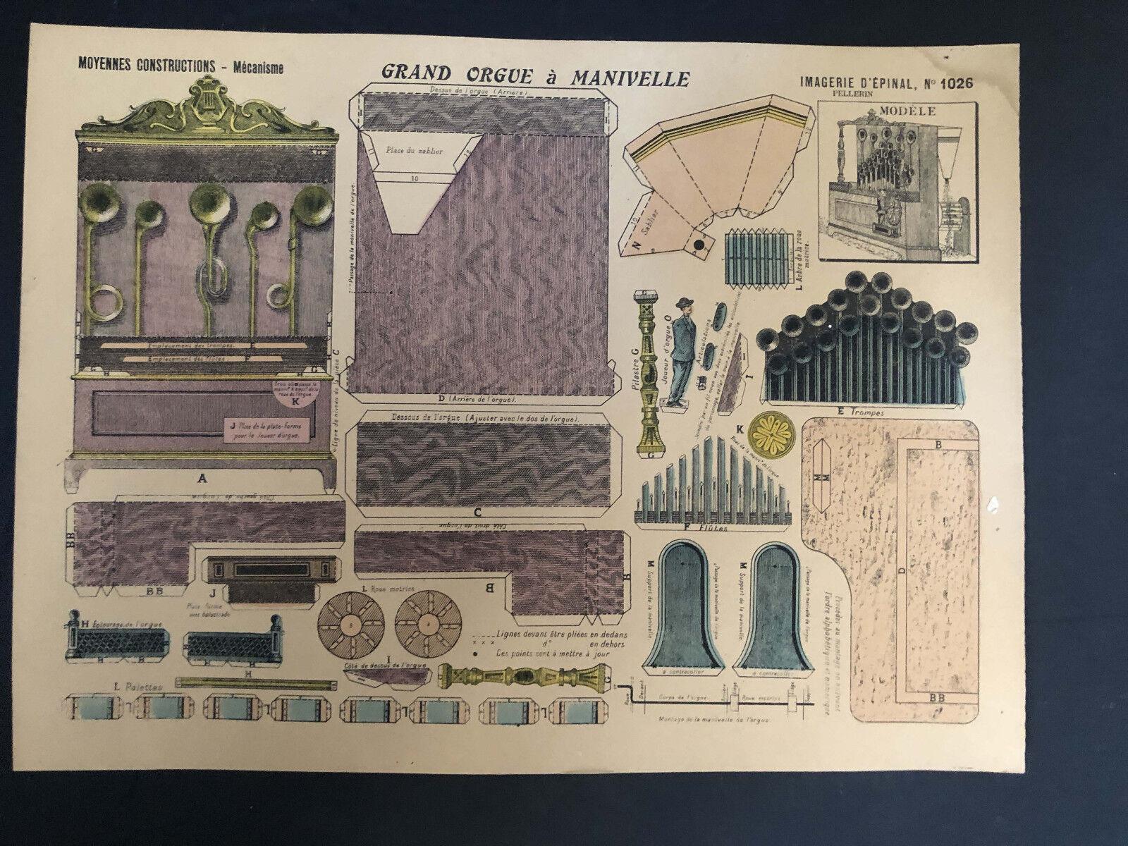 Grand orgue à manivelle, Mécanismes, Moyennes constructions, Imagerie d'Epinal,