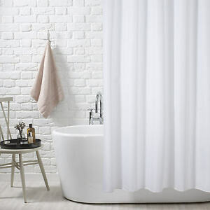Image Is Loading FINE QUALITY 100 POLYESTER WHITE SHOWER CURTAIN IN