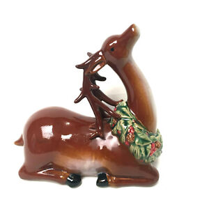 Vintage-Ceramic-Christmas-Reindeer-With-Wreath-From-1980-039-s