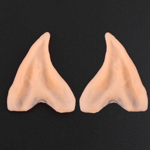 2 Pairs Pixie Elf Fairy Latex Pointed Ear Tips Halloween Carnival Party Cosplay