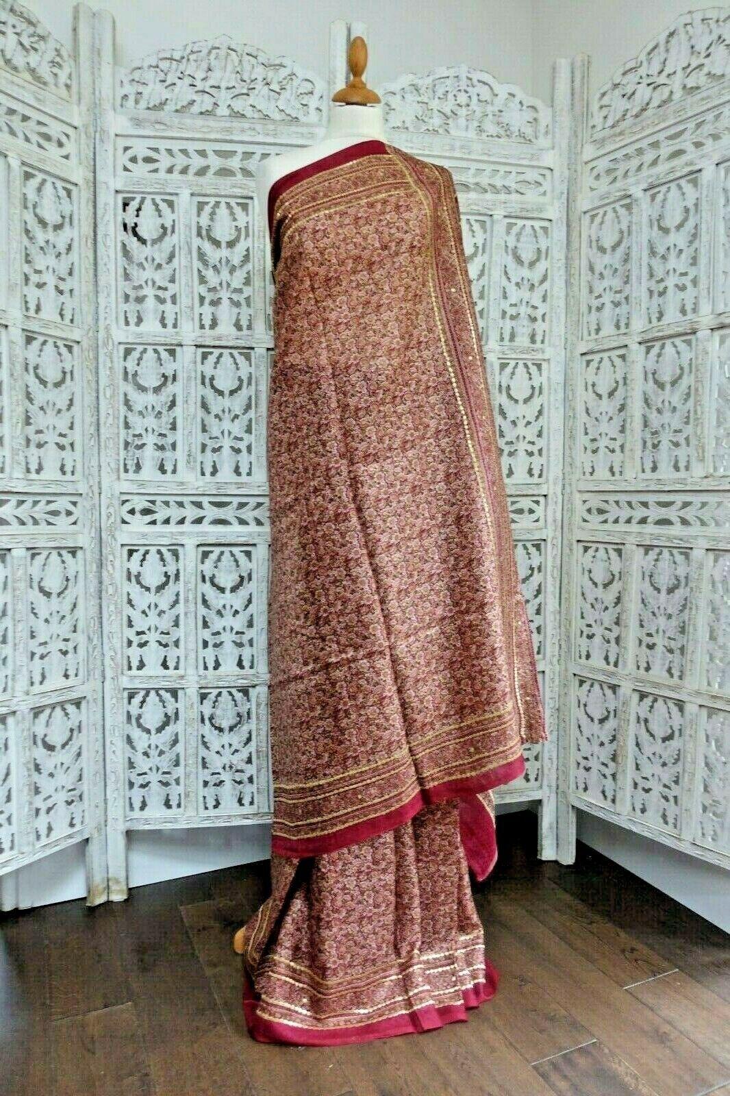 Vintage floral printed silk sari saree BN – SKU15350