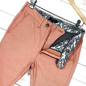 Para-hombres-Calce-Ajustado-De-Ted-Baker-twiltro-Chino-Conico-Pantalones-Pantalones-Tamano-28L-W28