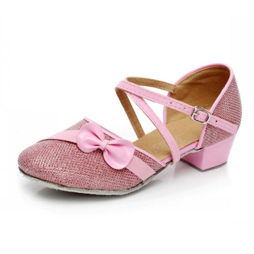 GIRLS KIDS CHILDRENS MARY JANE GLITTER LOW HEEL PARTY WEDDING SANDALS SHOES SIZE