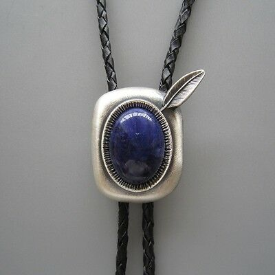 SILVER PLATED BLUE PLESSITE STONE WESTERN RODEO FEATHER COWBOY BOLO TIE